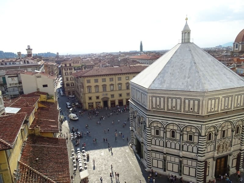Florence from above - The baptistery and Piazza Duomo as seen from Giotto's Bell Tower