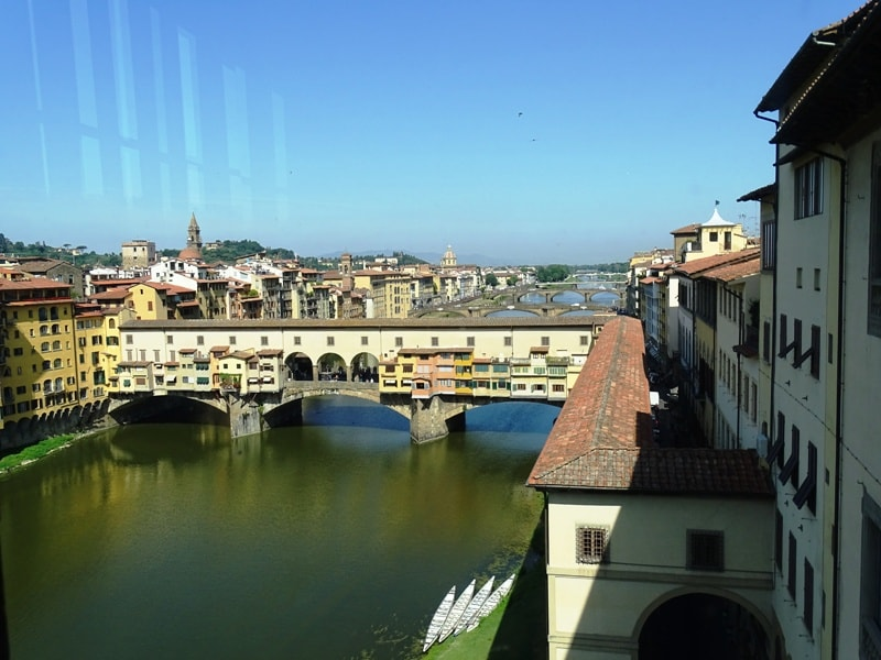 Florence from above - view of river Arno from the Uffizi Gallery
