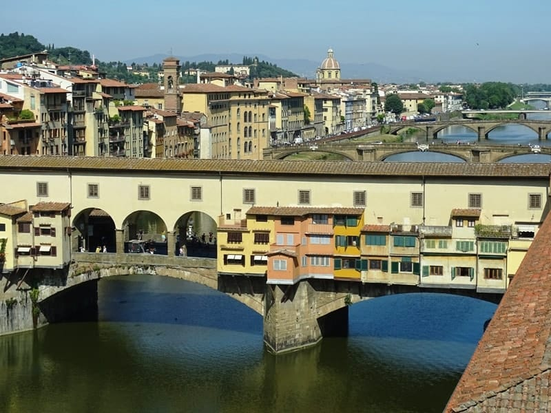 The view of river Arno and Ponte Vecchio from Uffizi Gallery