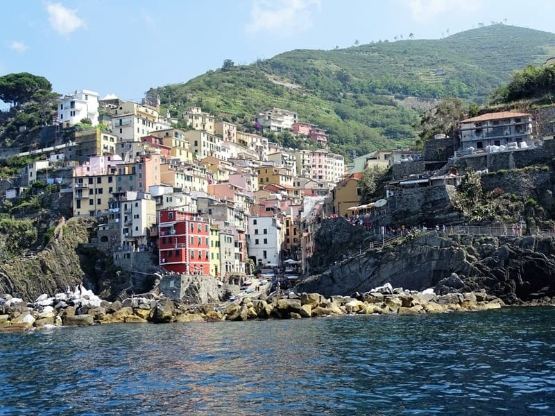 view-of-riomaggiore-from-the-sea- 8 italian riviera cities and towns you have to visit