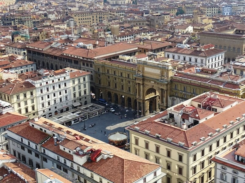 view of Piazza Republica from Giotto's Campanile in Florence