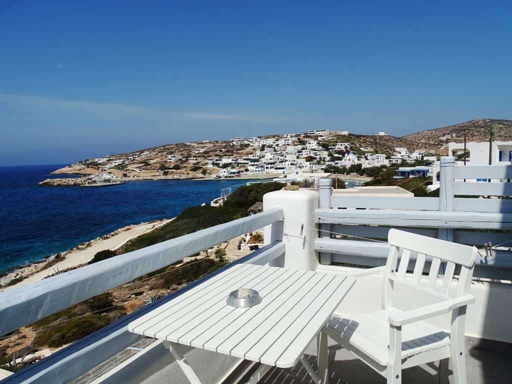 View of Stavros village from the balcony at Makares Apartments, Donousa