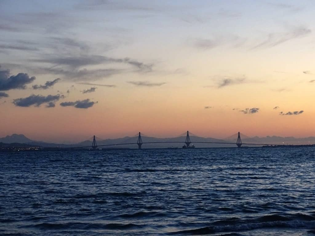 Rio - Antirio bridge at sunset