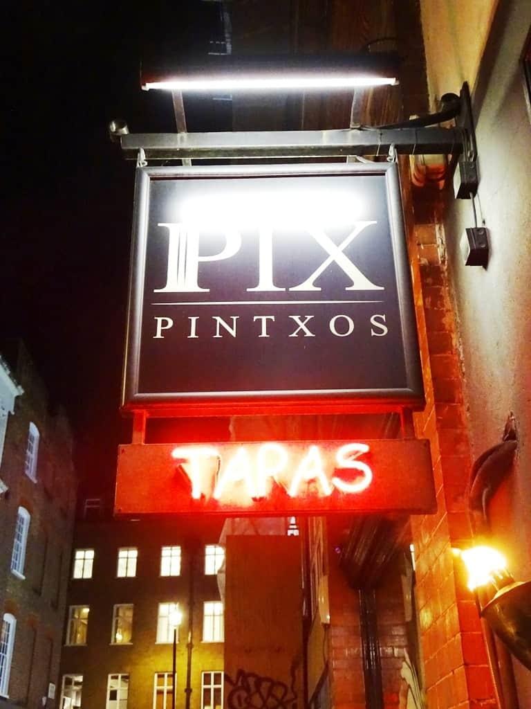 Pix Pintxos Bar - hanging Jamón-Twilight Soho Food Tour London