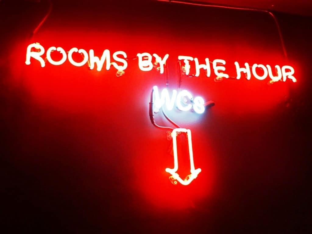 the wc sign in Pix Pintxos bar - Twilight Soho Food Tour London
