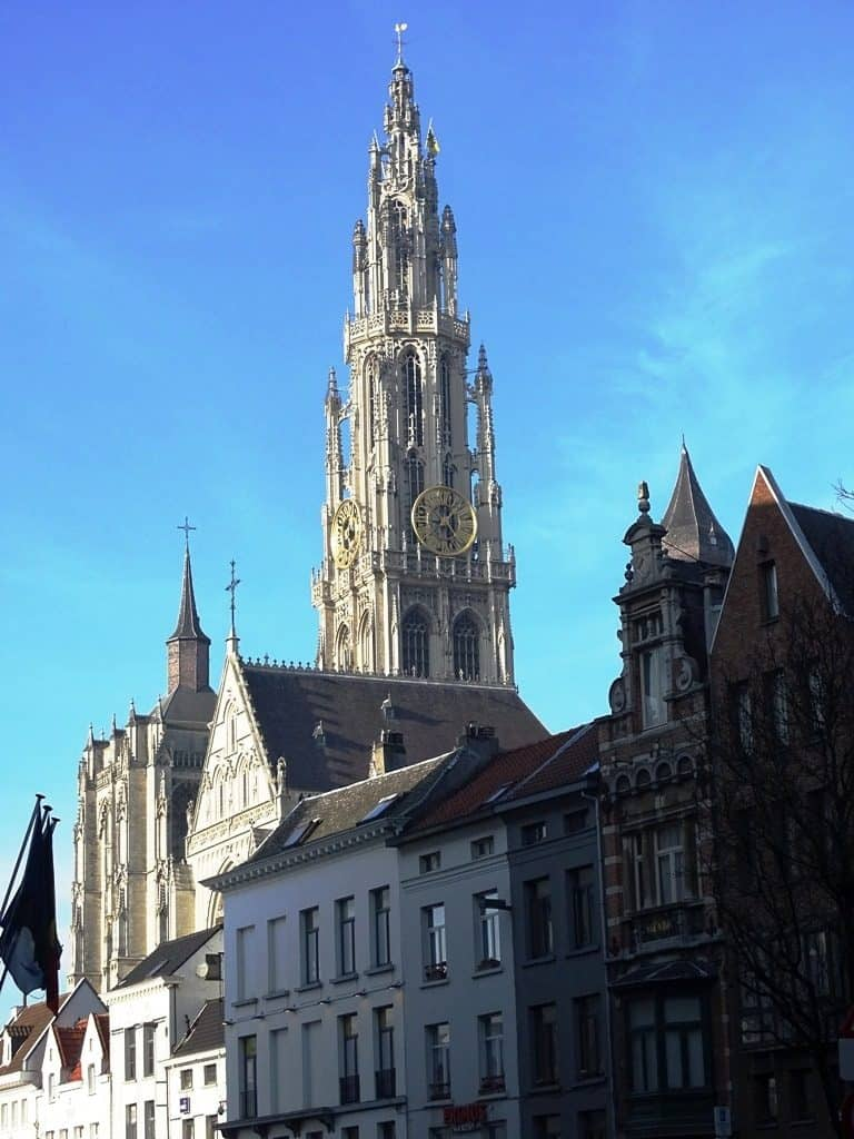 View of the Cathedral from Groenplaats Antwerp Belgium