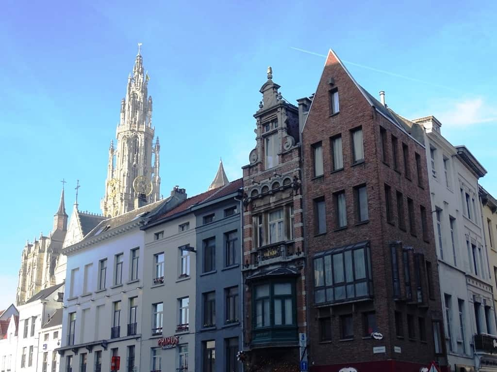 View of the Cathedral from Groenplaats Antwerp