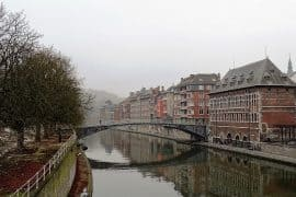 houses on river Sambre, Namur