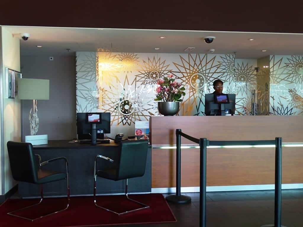the reception area of the Mövenpick Hotel Amsterdam