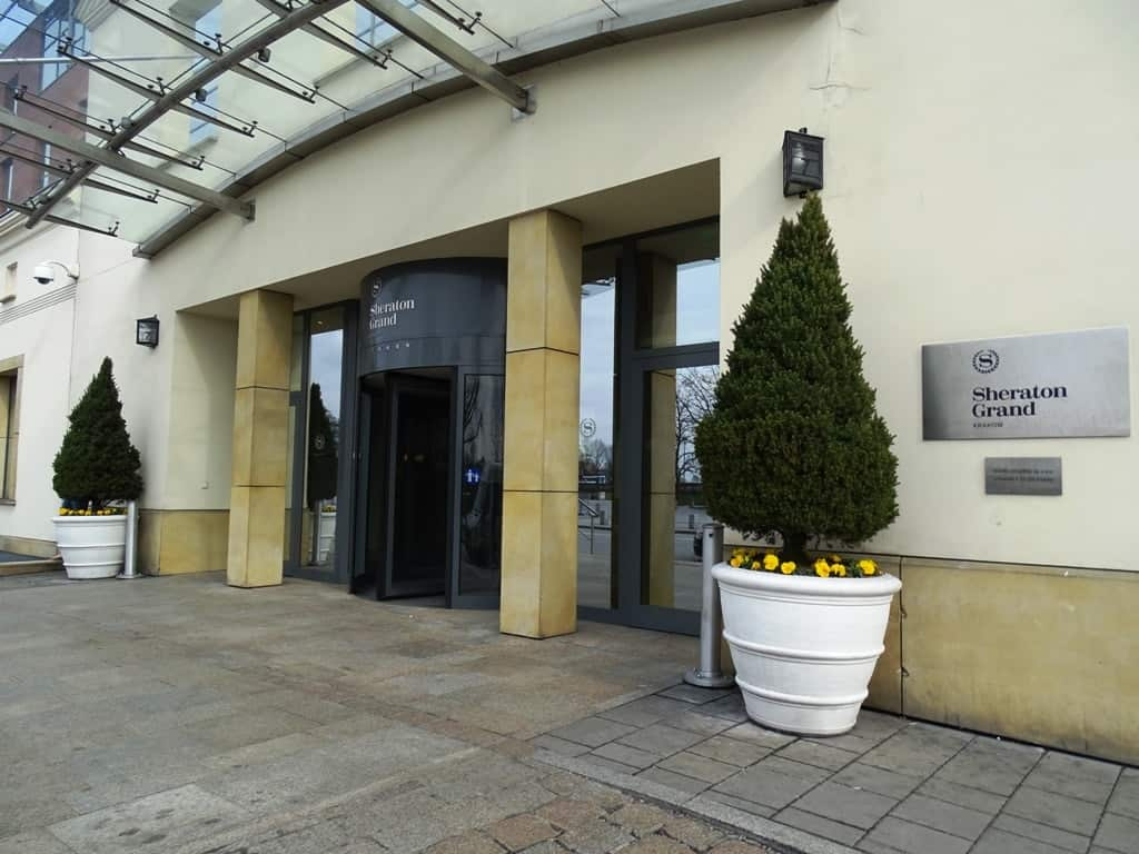 the entrance of the Sheraton Grand Krakow