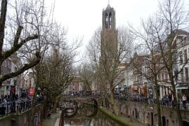 View of the Dom Tower from the canals - things to do in Utrecht