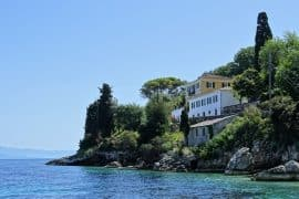 The Manor House as seen from Loggos village in Paxos