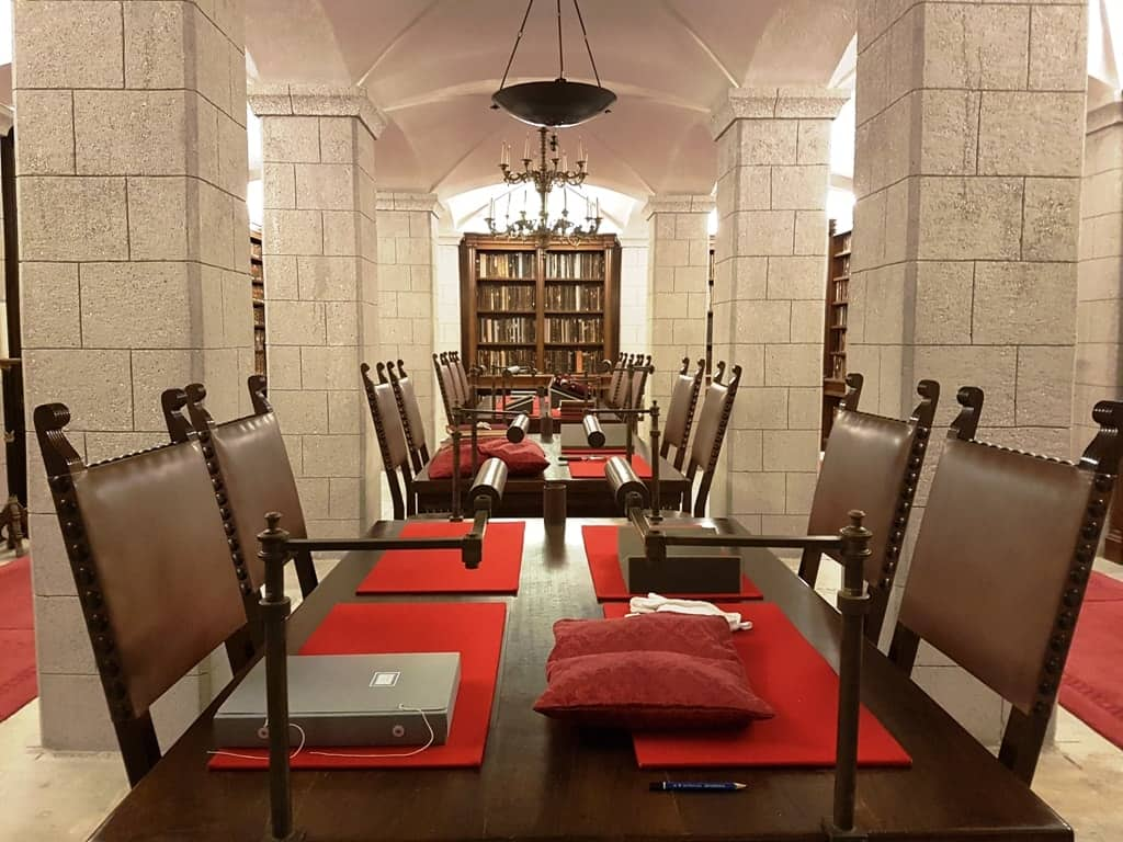 inside the library at the Monastery of Saint John