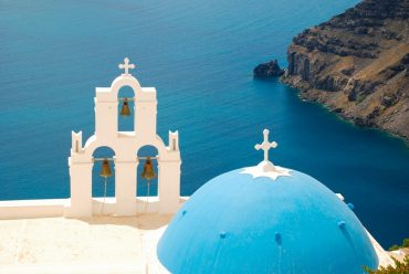 Famous blue domed Firostefani church The Best Santorini Tours