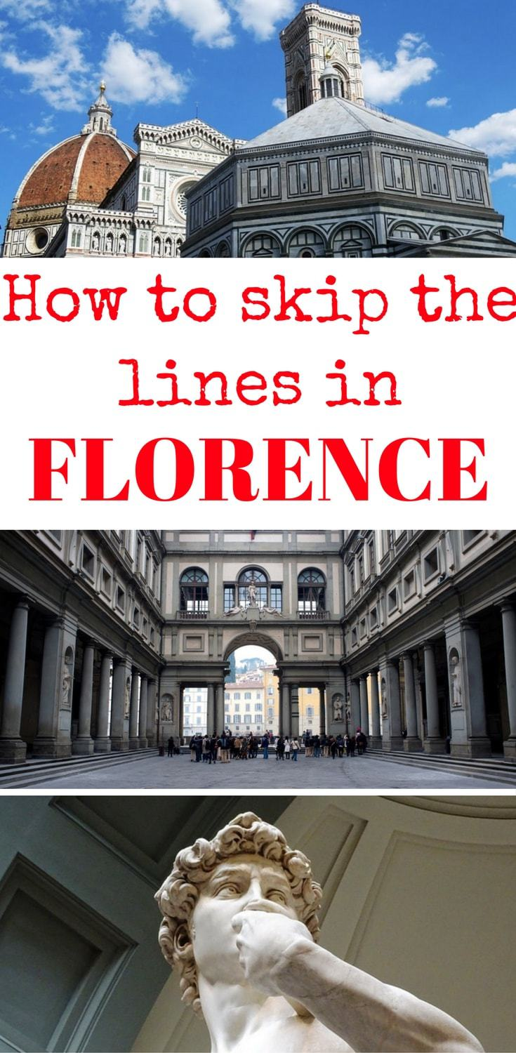 How to skip the lines in Florence's top attractions, skip the line at the Uffizi, skip the line at the Duomo, skip the lin at David's Accademia Gallery, avoid the queues in Florence
