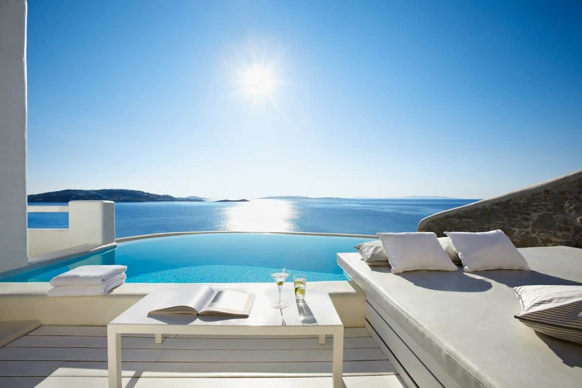 The best mykonos hotels with private pools for Top design hotels mykonos