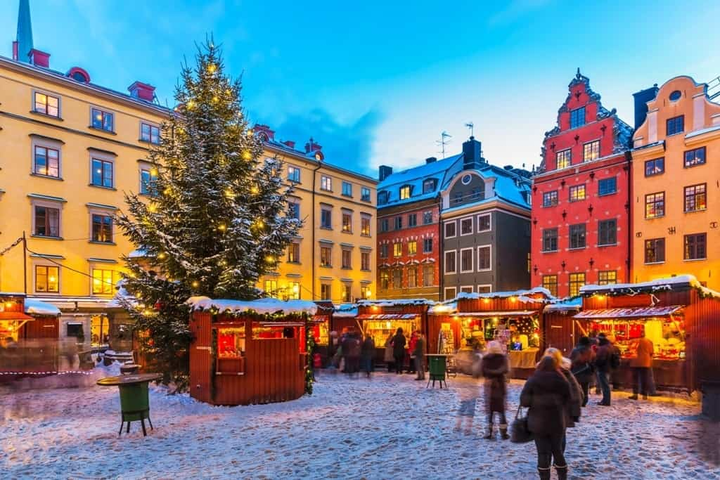 Christmas holiday fair at the Big Square (Stortorget) in the Old Town (Gamla Stan) in Stockholm in winter