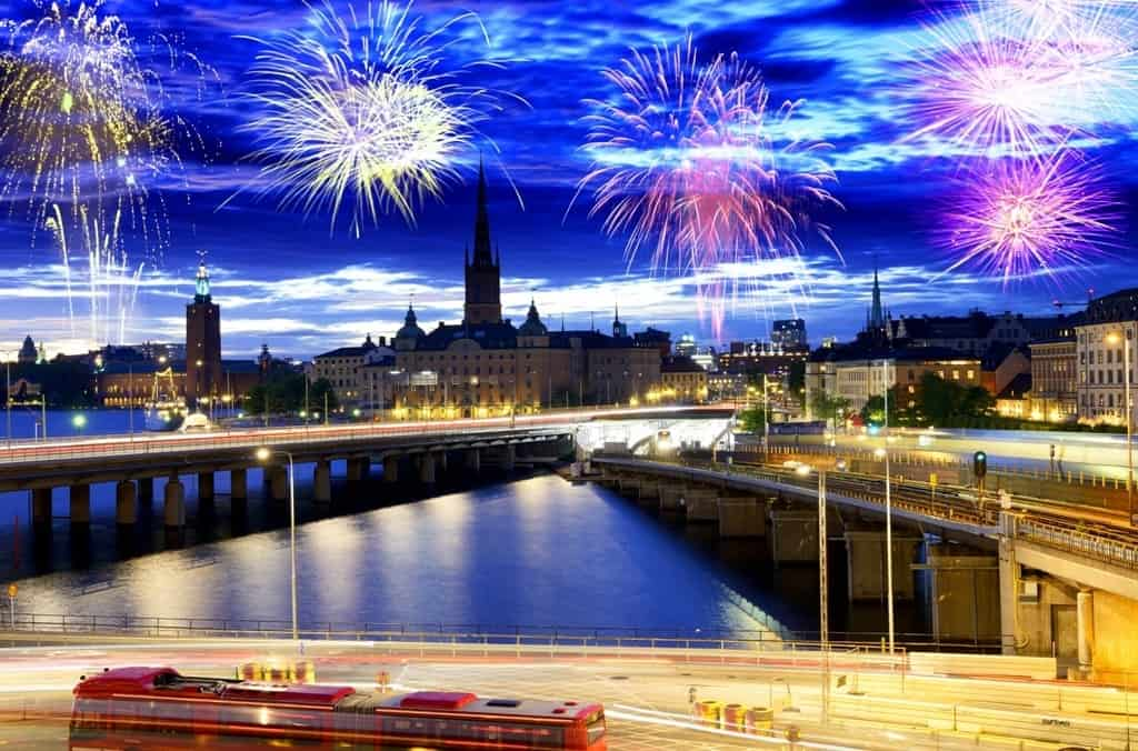 Fireworks celebration over Stockholm - Stockholm in winter