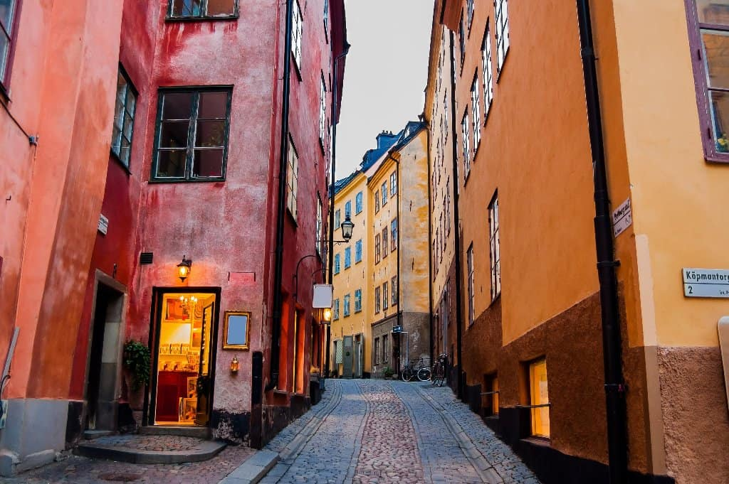 Cobbled Street and Colourful Buildings in Stockholm Old Town