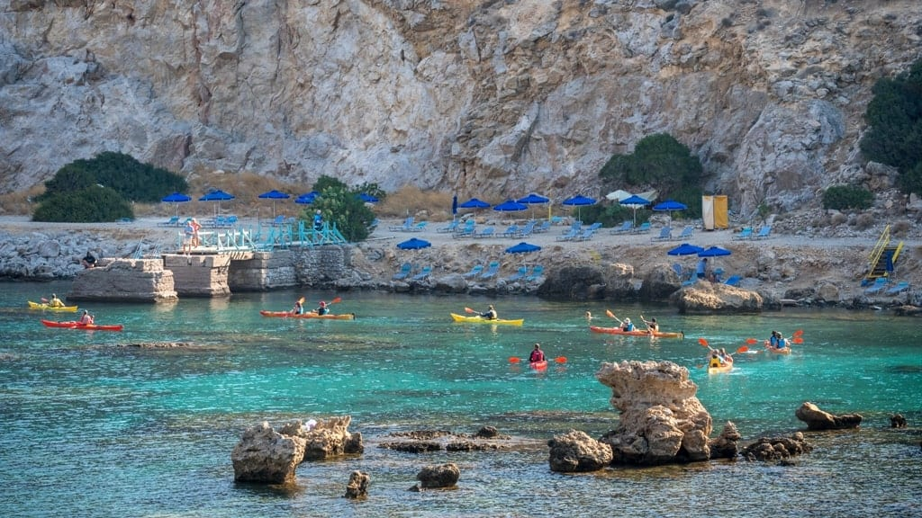 kayaking in Anthony Quinn bay - things to do in Rhodes