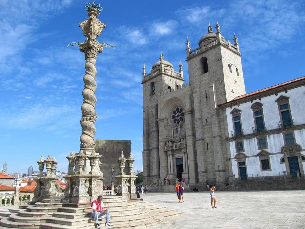 the Pillory (Pelourinho) column on the Porto Cathedral (Se do Porto) square in Porto