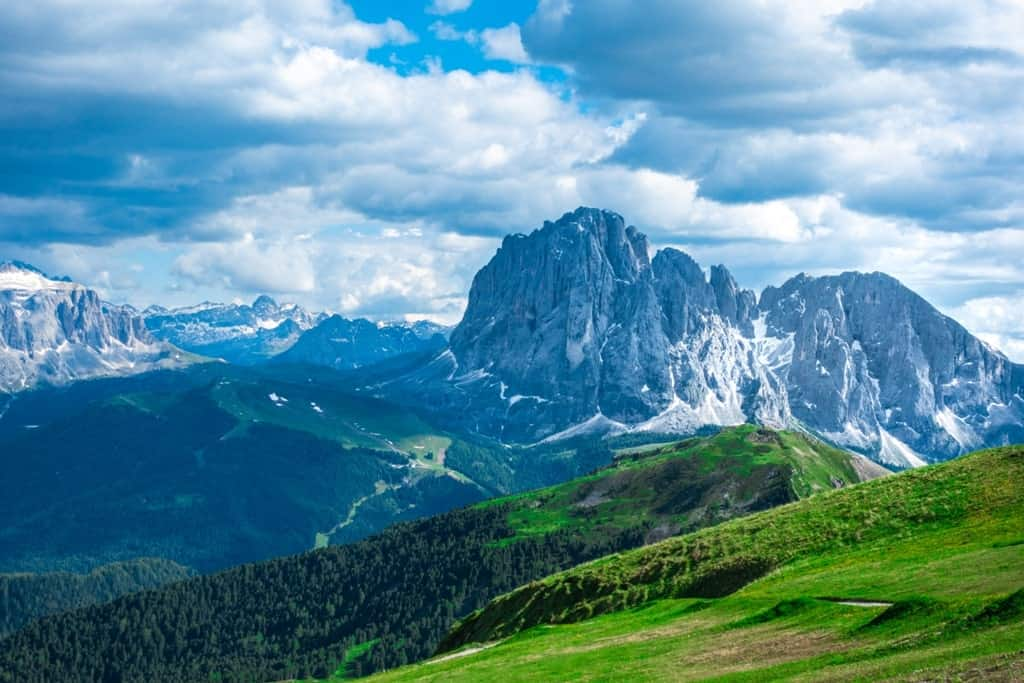 he view of Dolomites Alps from the Seceda Peak, Ortisei