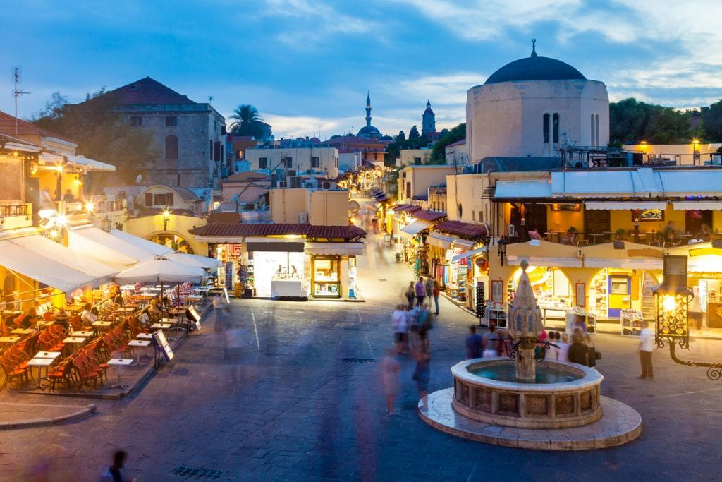 Hippocrates square in the historic Old Town of Rhodes - where to stay in Rhodes