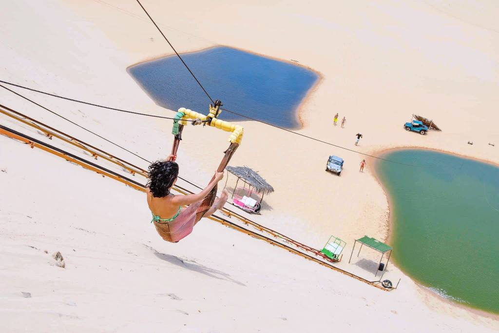 Zip Lining in the Sand Dunes Canoa Quebrada Brazil