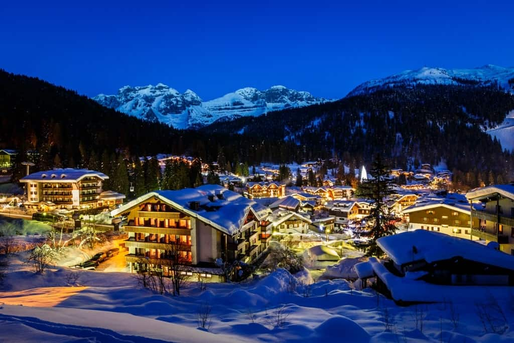 Illuminated Ski Resort of Madonna di Campiglio - Italy in winter