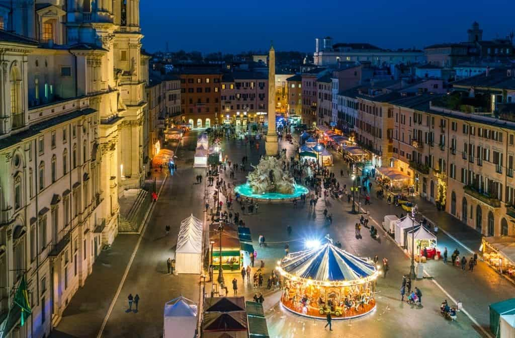 Piazza Navona in Rome during Christmas time. - winter in Italy