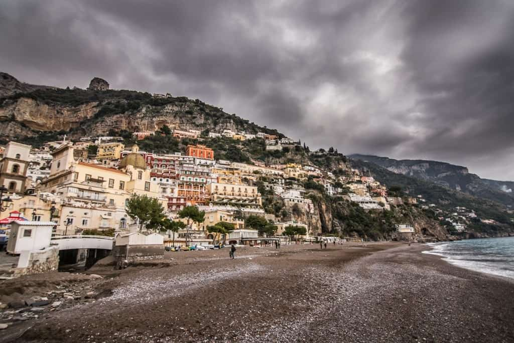 Positano in winter Italy
