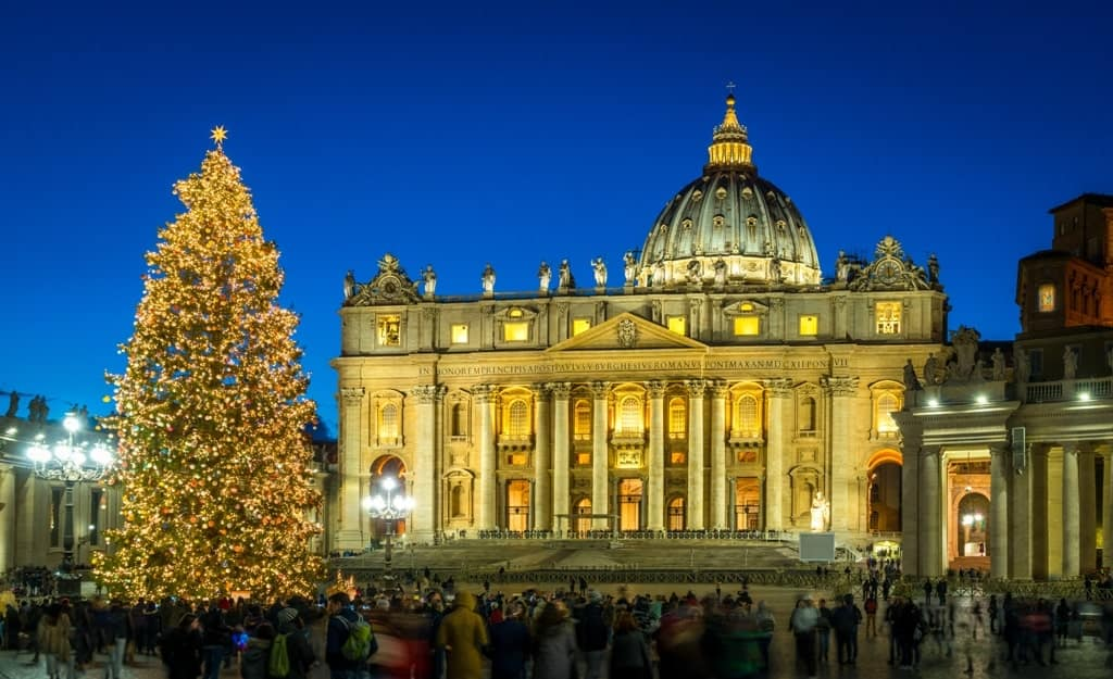 Saint Peter Basilica in Rome at Christmas - Italy in winter