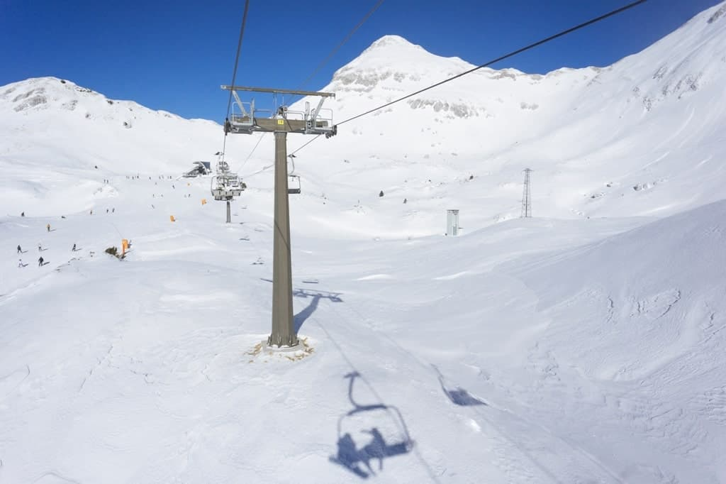 Skilift and slopes in Piancavallo - winter in Italy