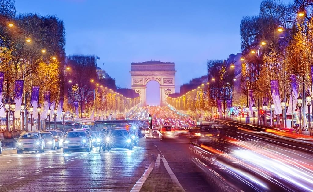 Arch of Triumph and Champs Elysees in Paris in winter