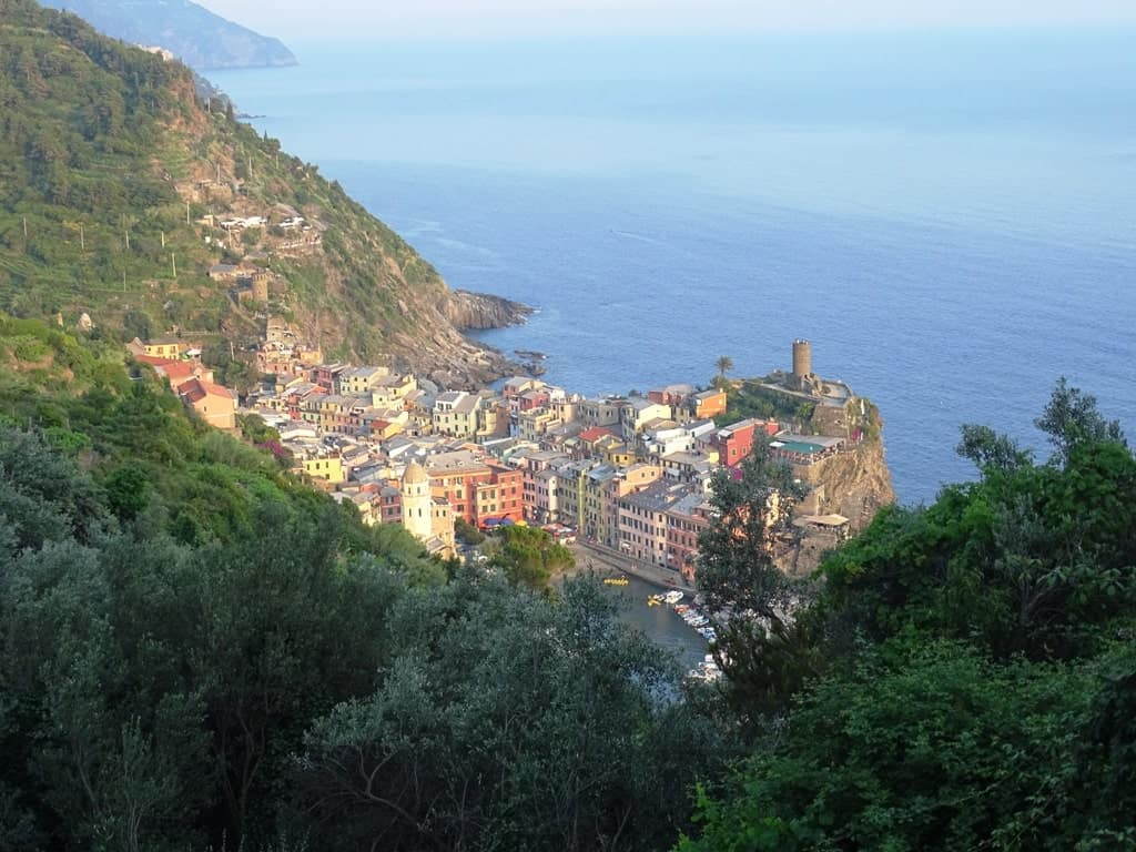 Vernazza from above - hiking in Cinque Terre in 2 days