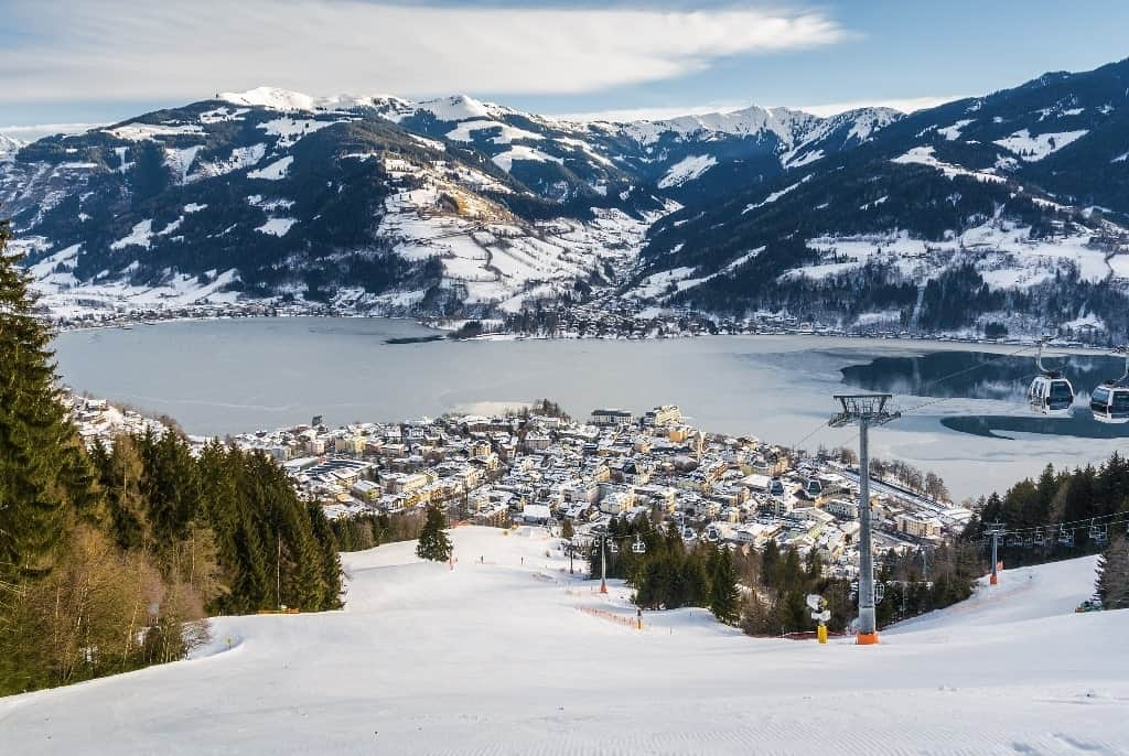 ski slope near Zell am See - Austria in winter