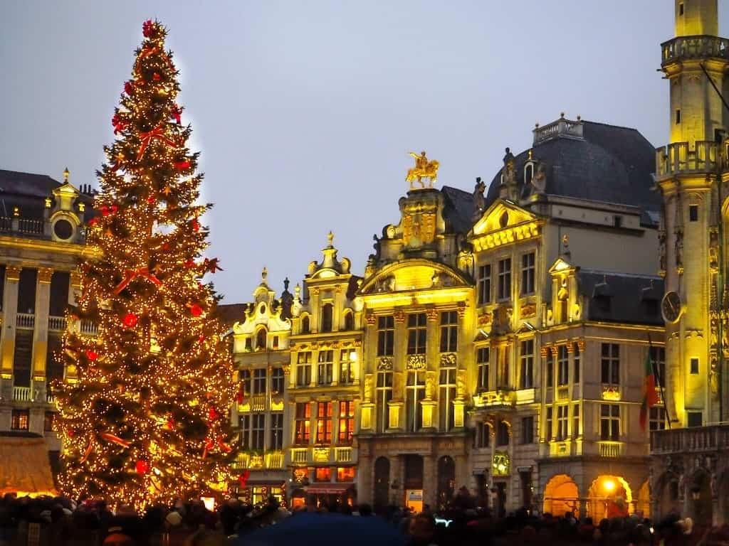 Christmas Market in Brussels in winter