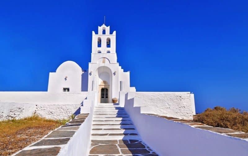 church of Panaghia Chrisopigi at Sifnos island - Greek island hopping routes