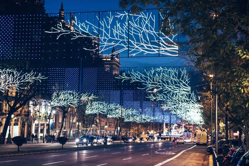 Christmas decorations in Madrid in winter