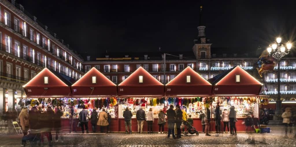 Christmas market in Madrid in winter