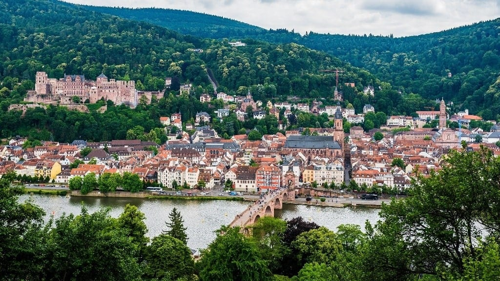 Heidelberg's old city as seen from the philosopher's way