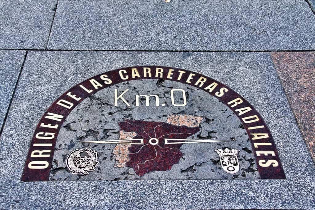 Kilometre Zero Puerta del Sol Madrid in winter