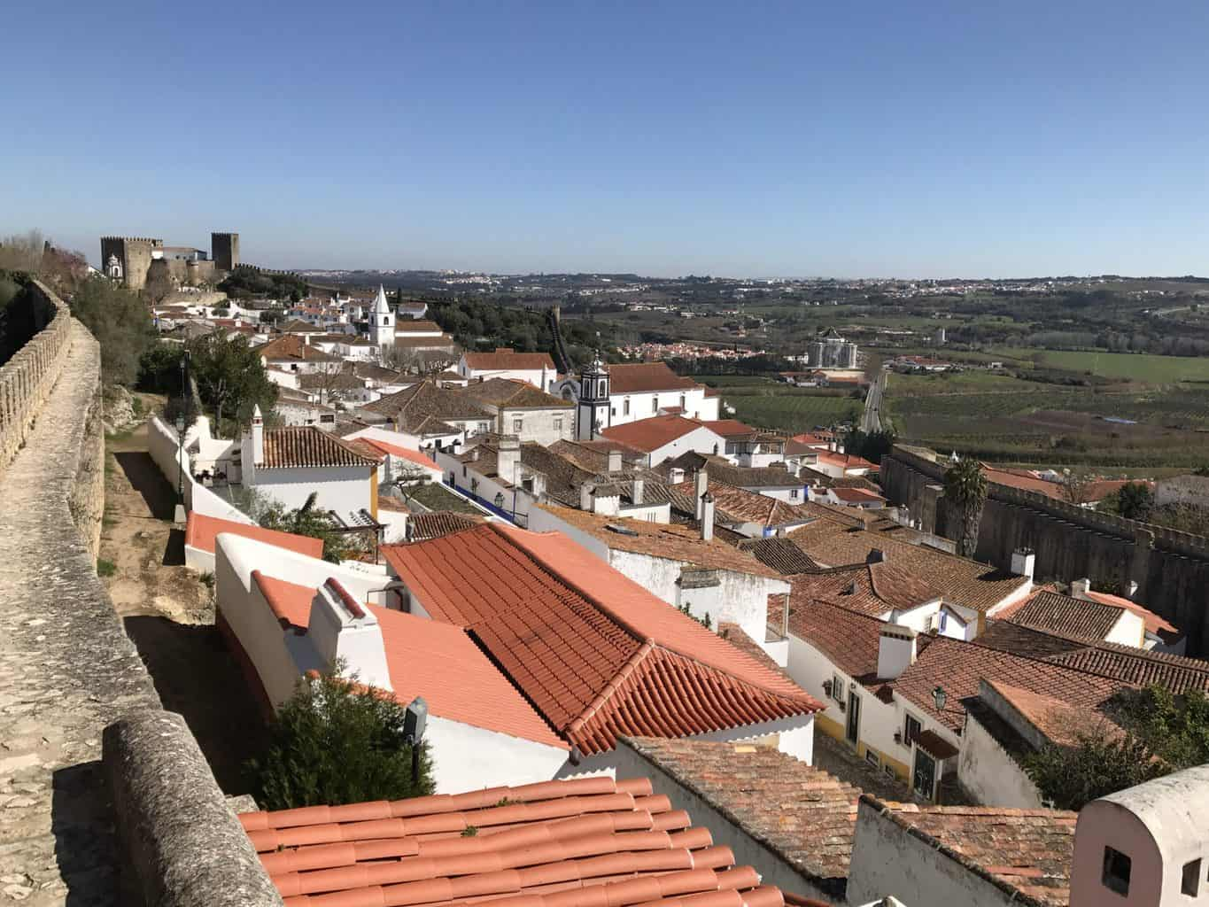 View from the city walls Obidos Portugal
