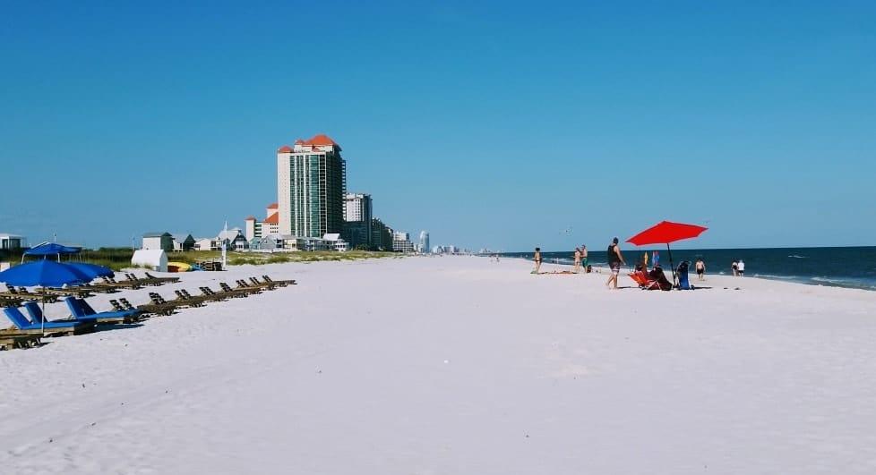 The beach in Gulf Shores Alabama