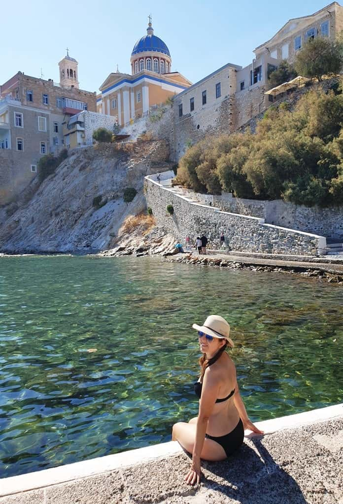 swiimming in asteria beach in Syros