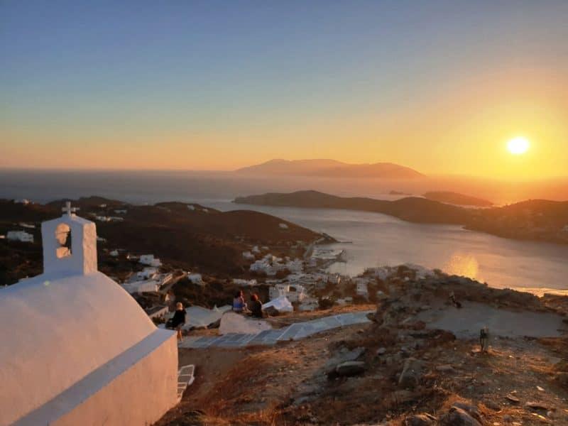 sunset from Panagia Gremniotissa Church in Ios