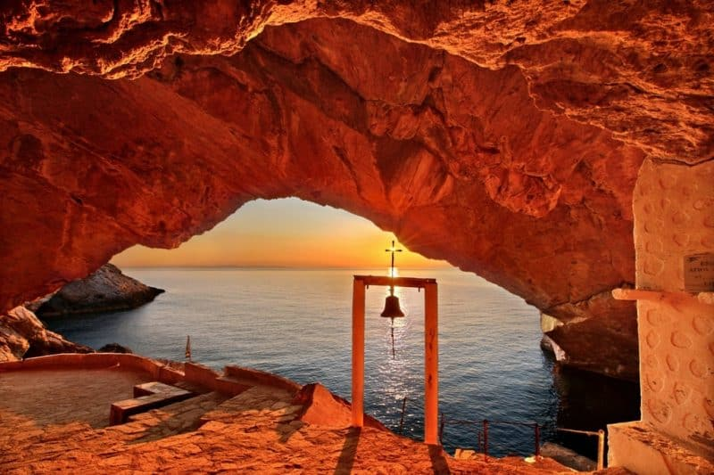 Sunset at the cave of the church of Agios Stefanos, close to Galissas village