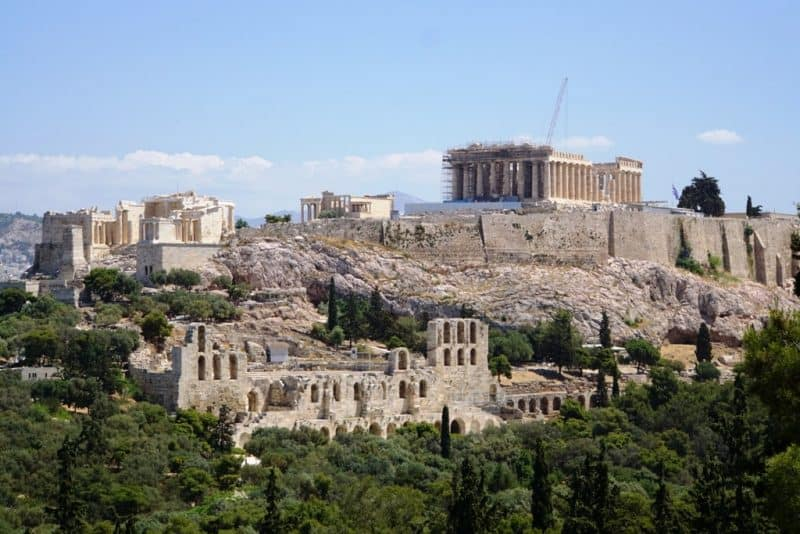 view of the Acropolis from Filoppapos Hill - Greece itinerary