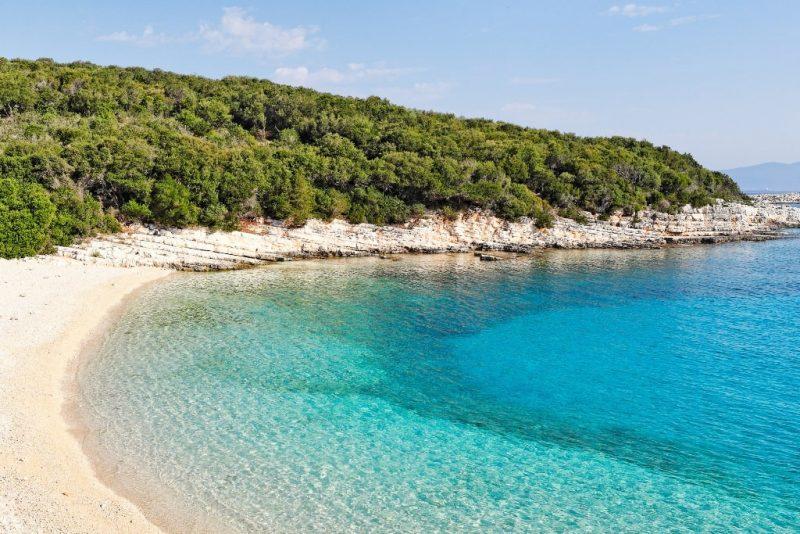 The beach Emblisi in Kefalonia island, Greece
