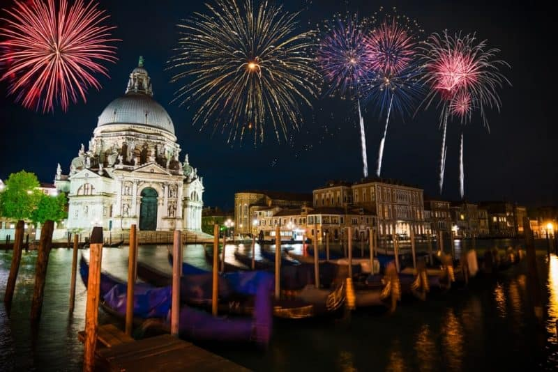 Fireworks in New Year - Venice in winter